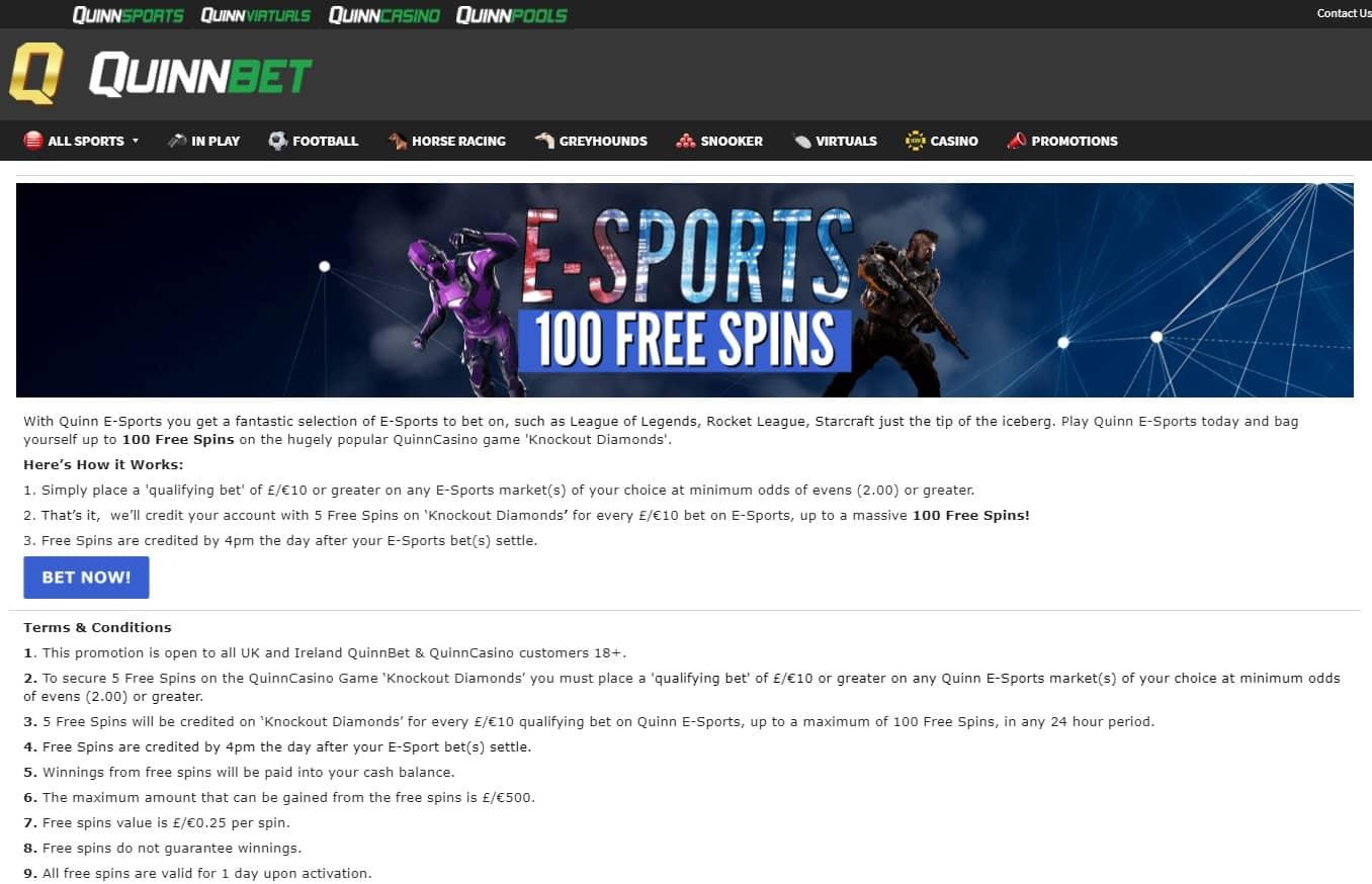 Quinn E Sports 100 Free Spins Promo